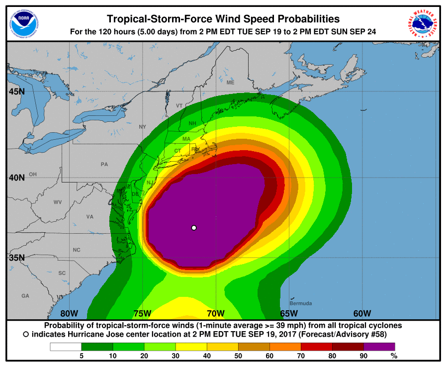 Tropical Storm wind projections, showing up to 30MPH winds expected to hit New Haven county over the next few days, according to the National Hurricane Center.