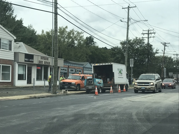 Paving is underway on Whitney Avenue.