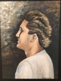 Painting of Jack Higgins, which is displayed in the Higgins household to keep his memory alive