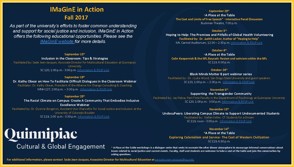 Some IMaGinE events planned for the Fall semester
