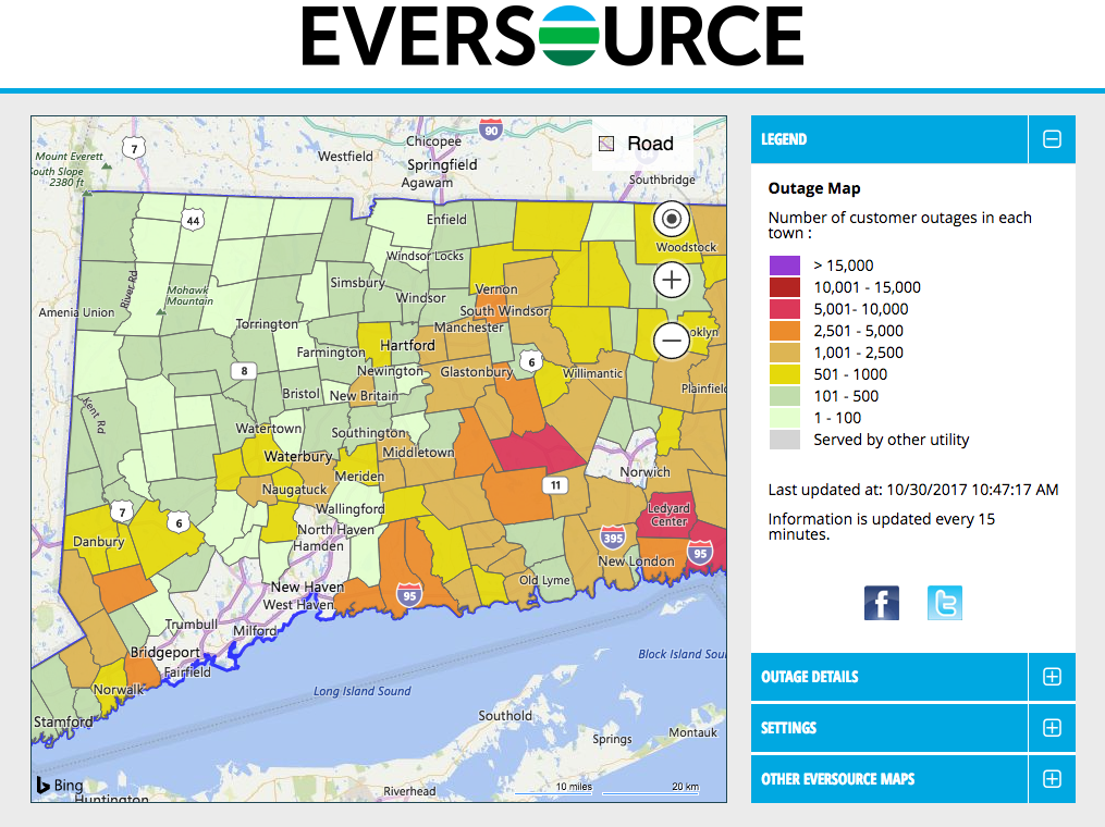 A map showing the number of Eversource Energy customers in Connecticut without power as of 10:47 a.m. Monday.