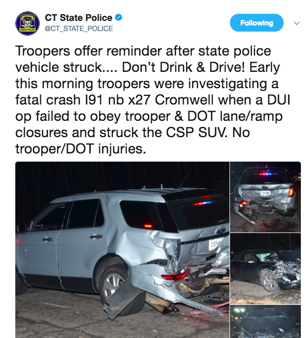 Connecticut State Police tweet photos of police cruiser hit by drunk driver