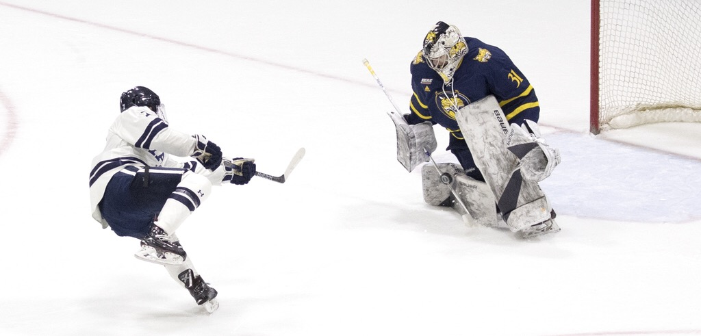 Quinnipiac vs. Yale on Feb. 9 in New Haven, (Photo by Steve Musco/Yale Athletics)