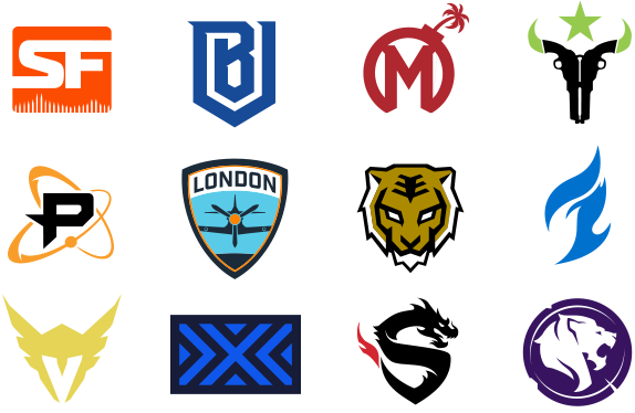 The Logos of All 12 Teams in The Overwatch League. Picture Via The Overwatch League