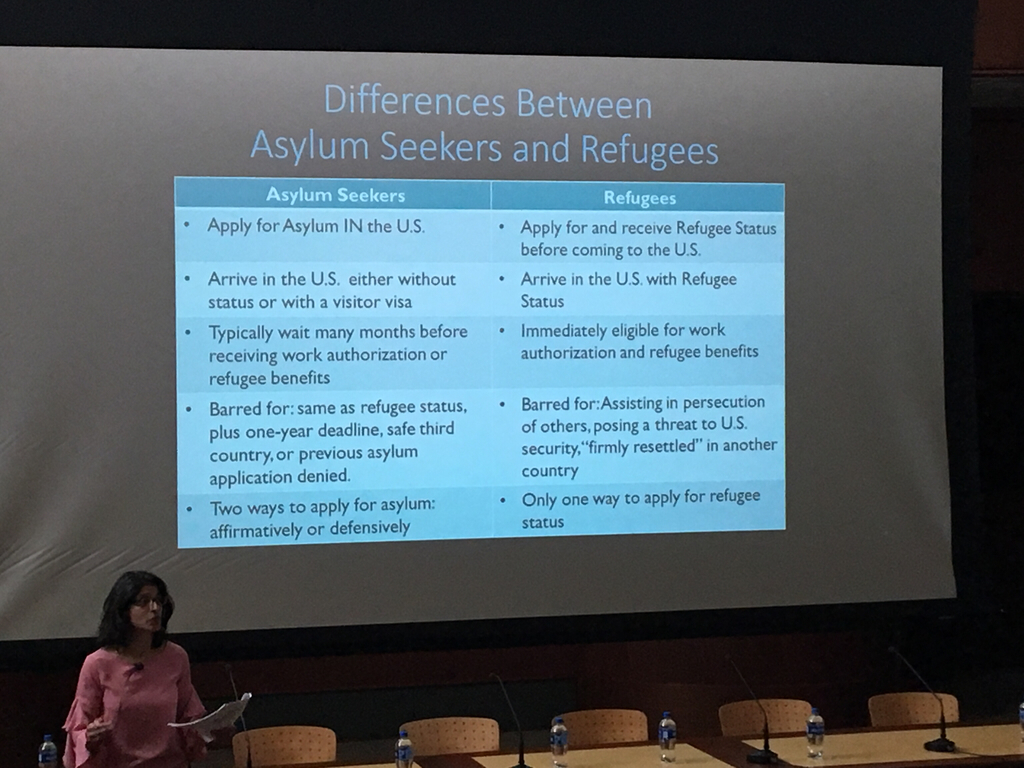 Hayre explaining the differences between Asylum Seekers and Refugees.
