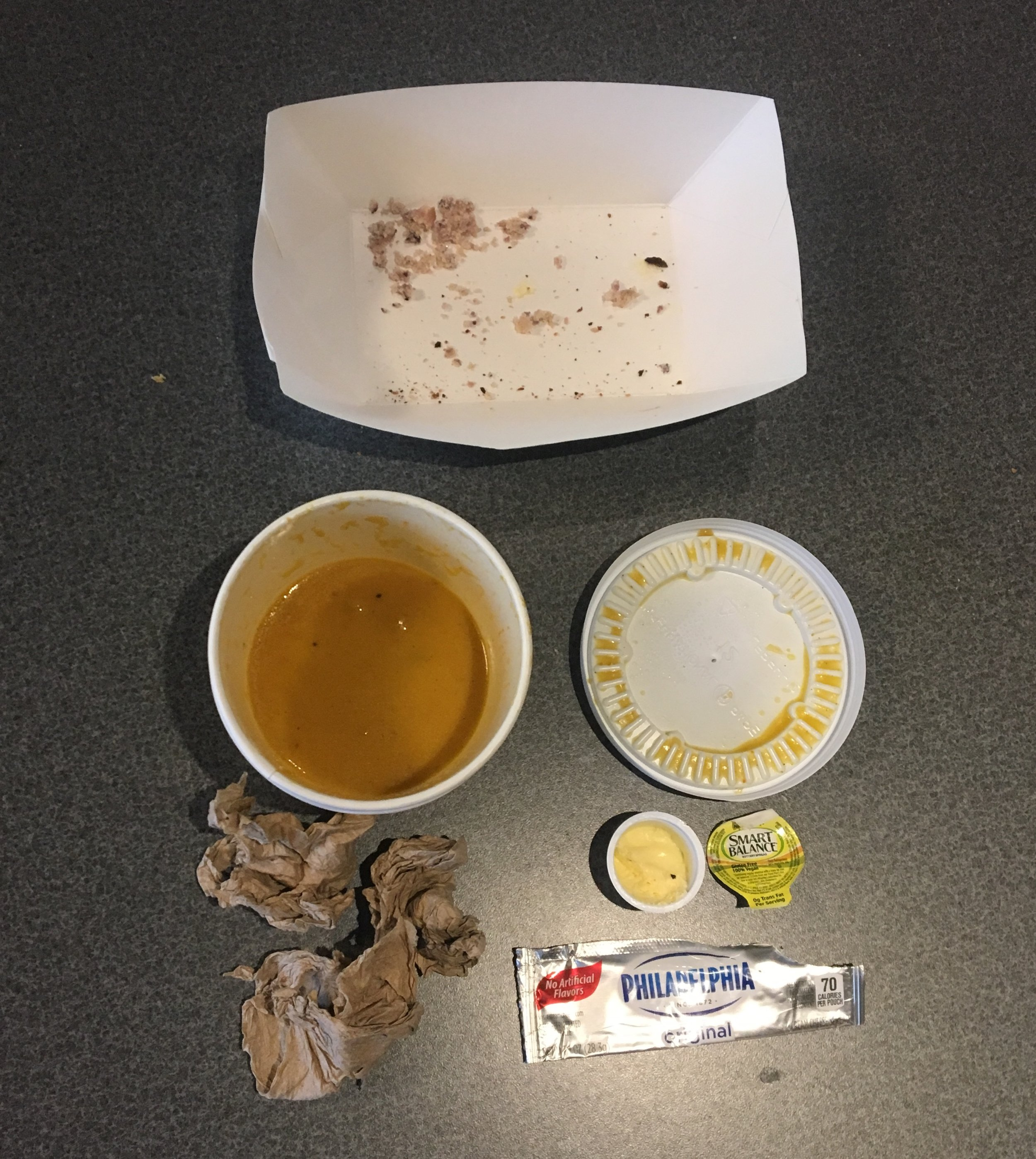 This is an example of two people's waste from just a quick snack in the café. Multiply this by 7,361 undergraduate students, and those living on campus eat at least three meals per day.