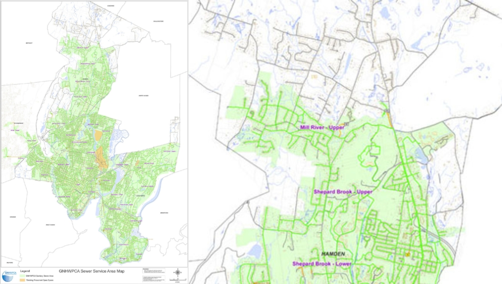 "Green areas are connected to the sewer. On the map on the right, the area north of ""Mill River"" is all on septic."