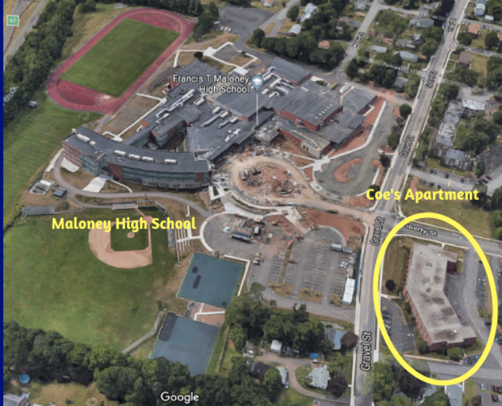 Coe lives in an apartment complex right across the street from a high school in Meriden. Source: Google Earth. Graphic by Ryan Ansel