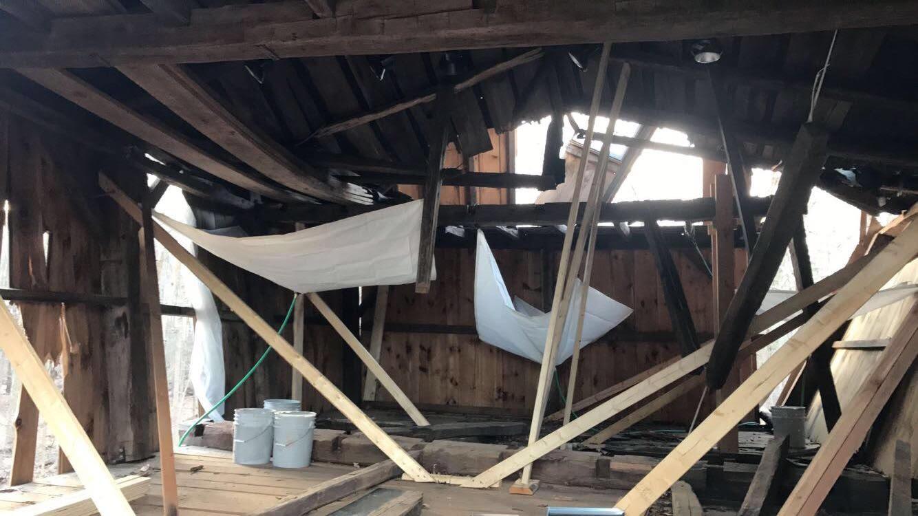 Interior damage of the barn.