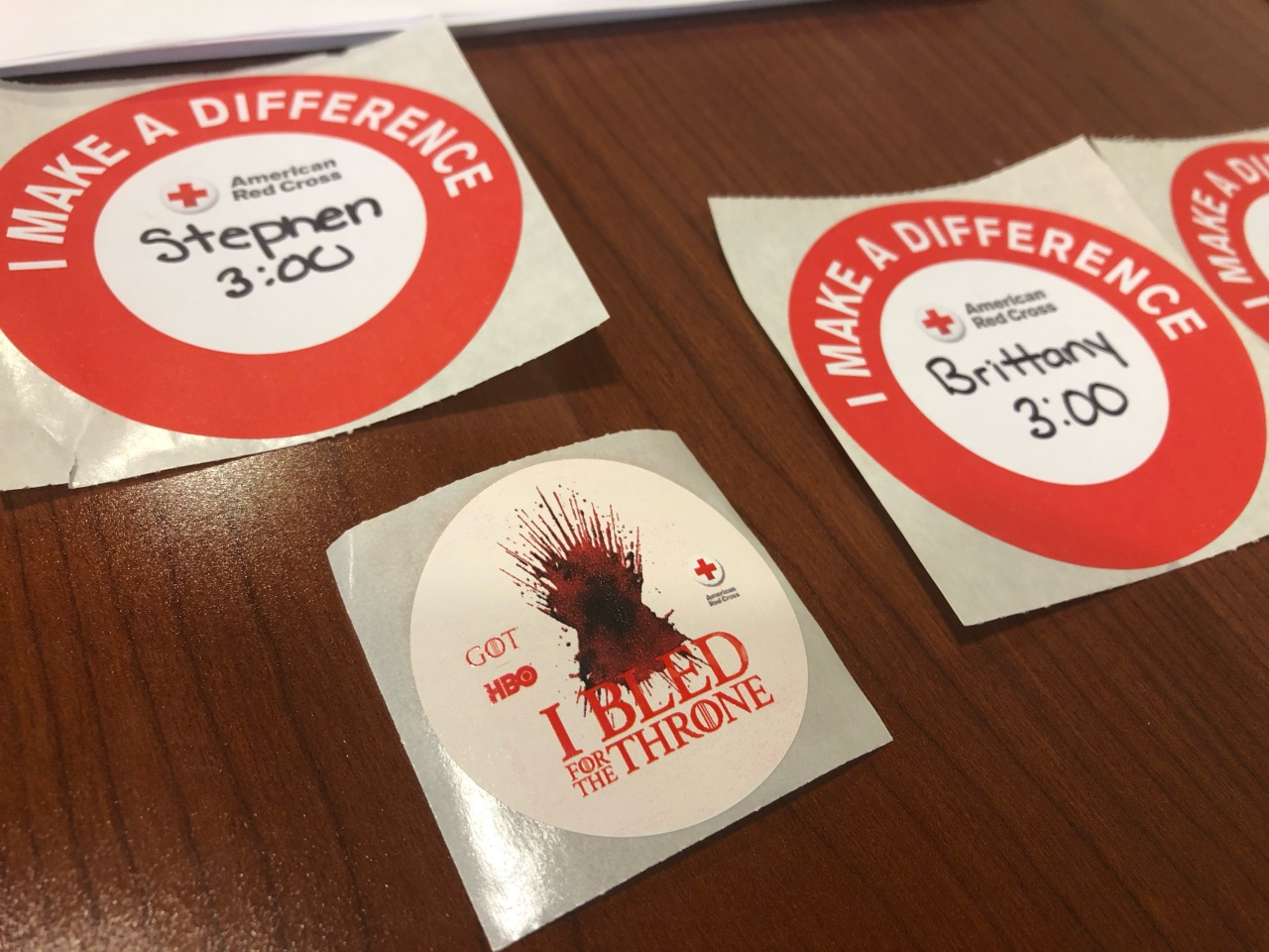 The American Red Cross gave out Game of Thrones stickers for anyone that donated blood.