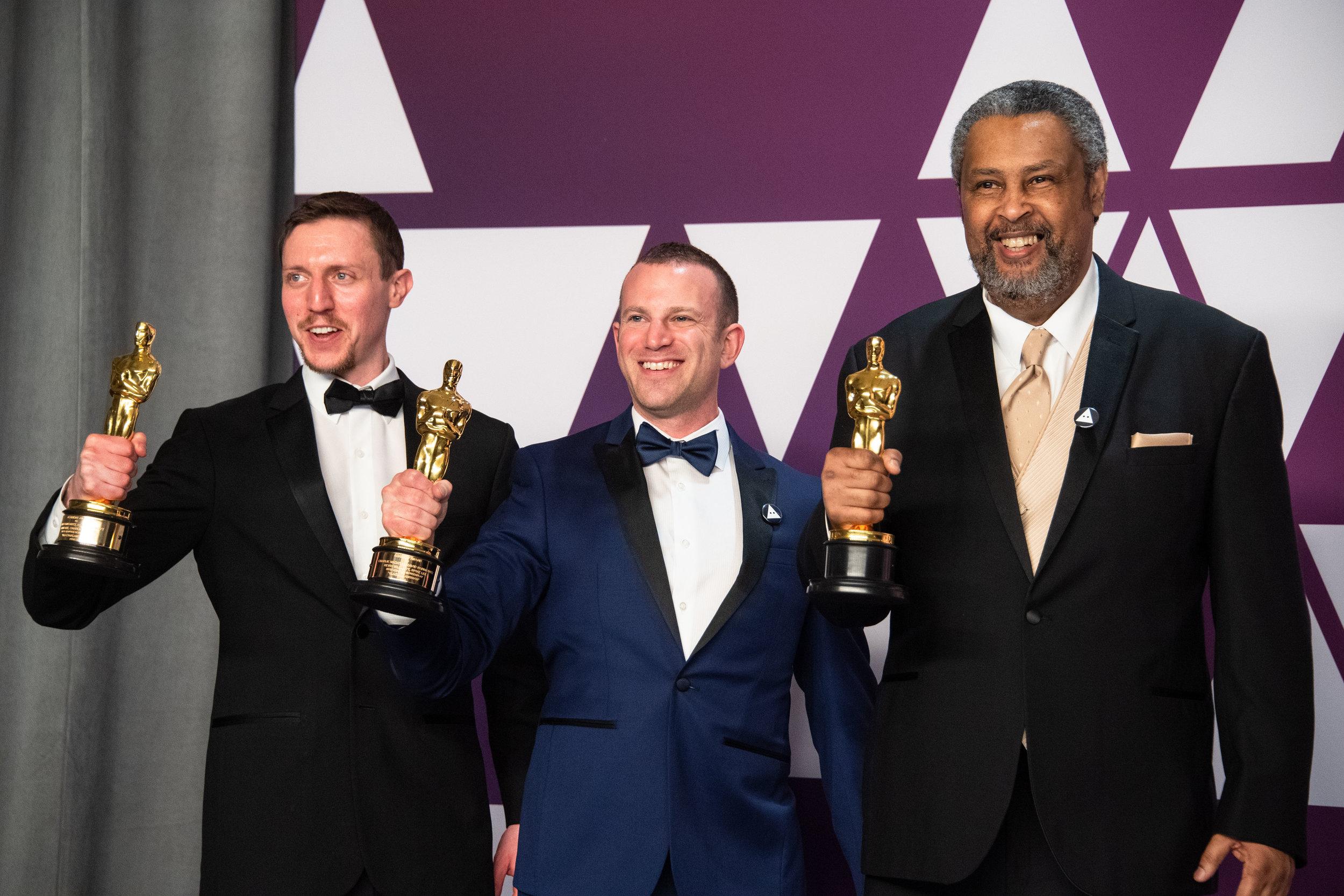 Left to right: Rabinowitz, Wachtel and Willmott with their awards.  Photo courtesy of 91st Oscars® Press Kits.