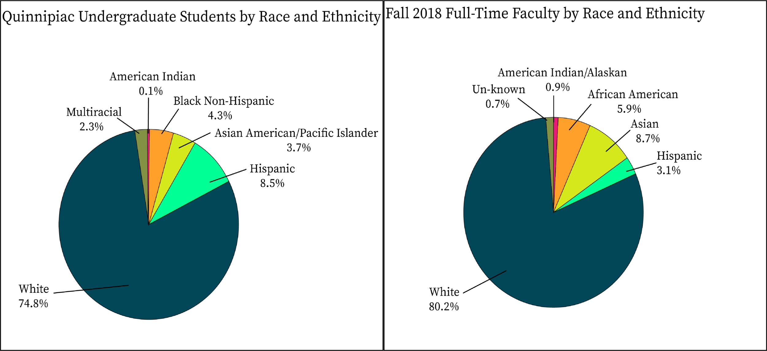 Pie charts outlining the racial demographics of the undergraduate population and fall 2018 full-time faculty at Quinnipiac.