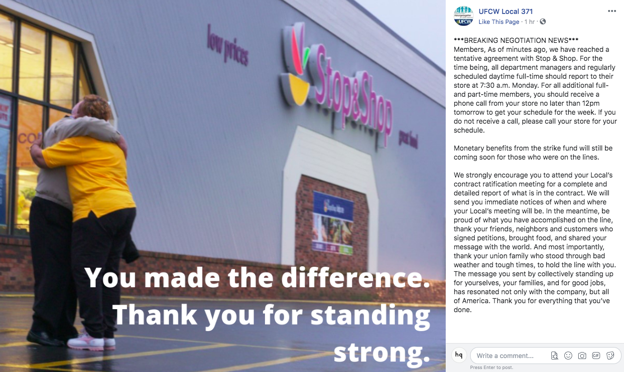 A post on Facebook by UFCW Local 371 announcing that an agreement has been reached.