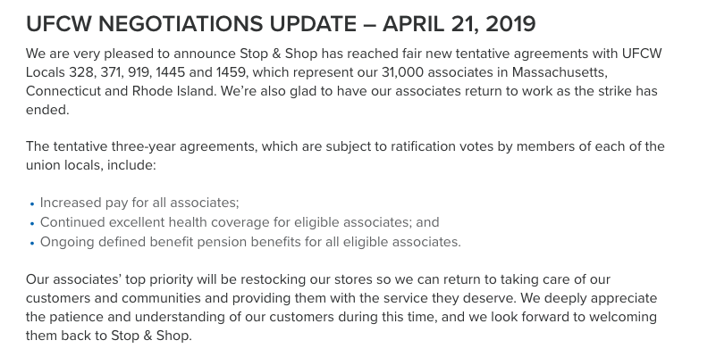 Stop & Shops official update located on its  labor page.