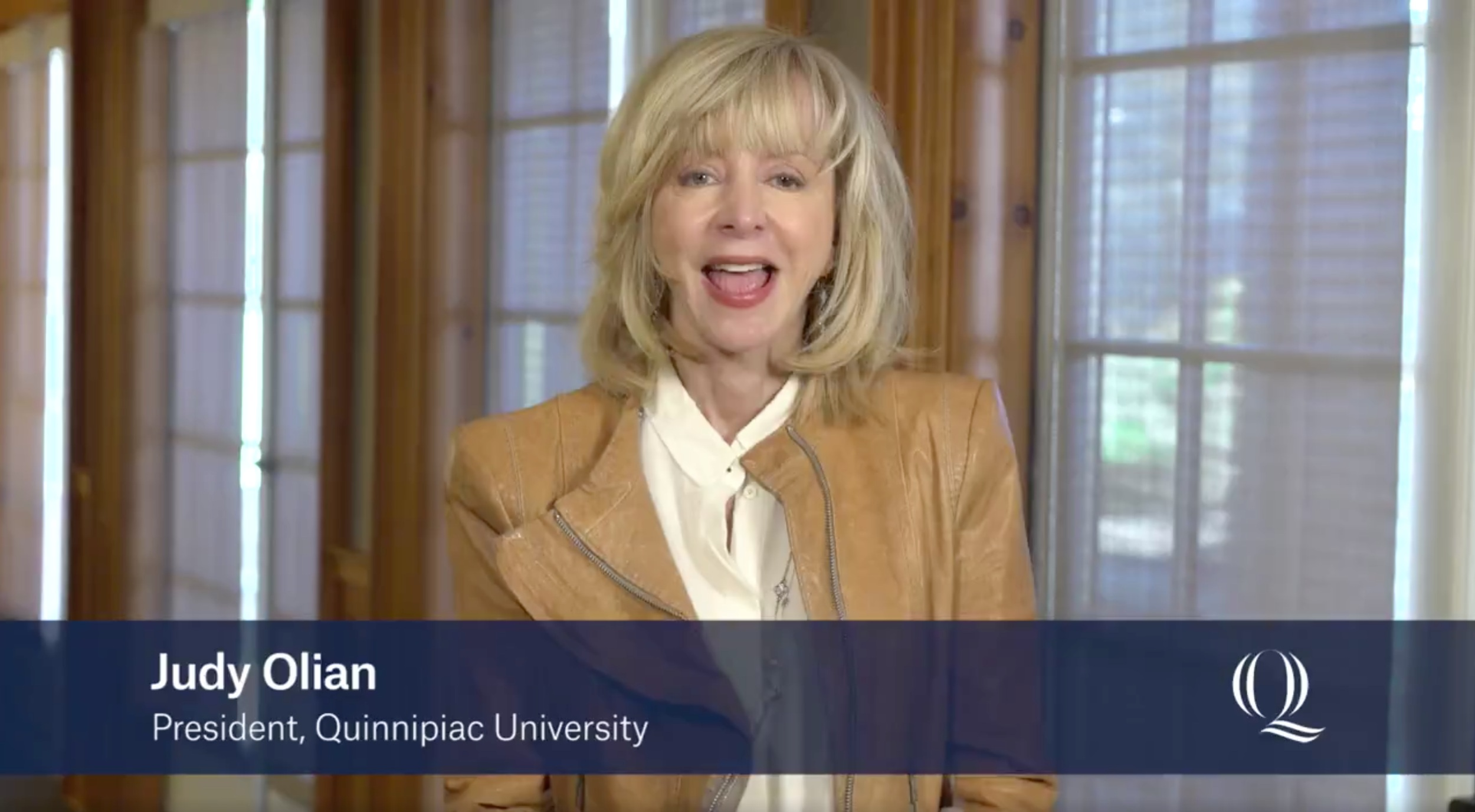 President Judy Olian in a recent video explaining what to look forward to in the coming months and years at Quinnipiac. Screenshot via Quinnipiac University.