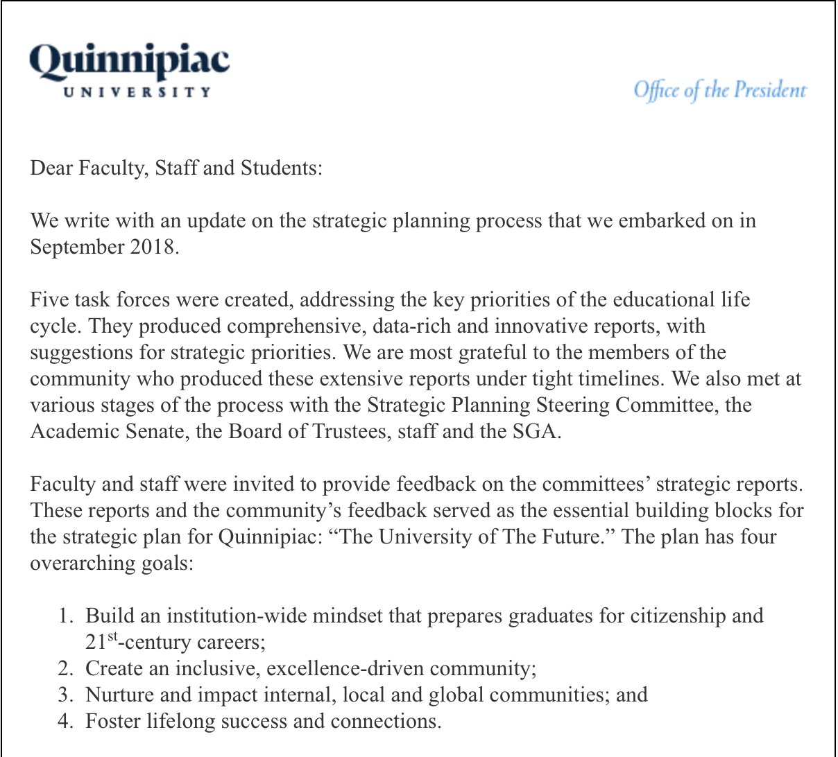 An e-mail from Olian sent to faculty, staff and students on Jan. 29 regarding the strategic plan.