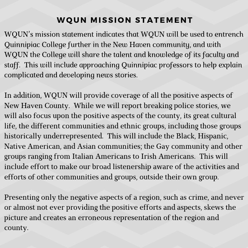 WQUN's mission statement, which was introduced in 1997 when the station first took to the airwaves.