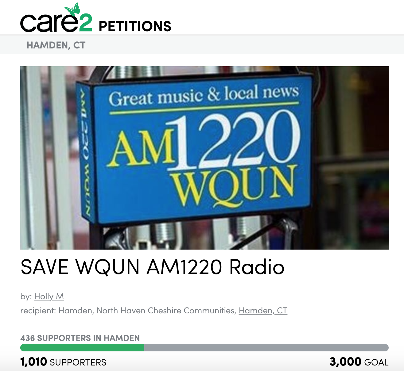 Masi's petition, which she created in February, has since collected over 1,000 signatures.