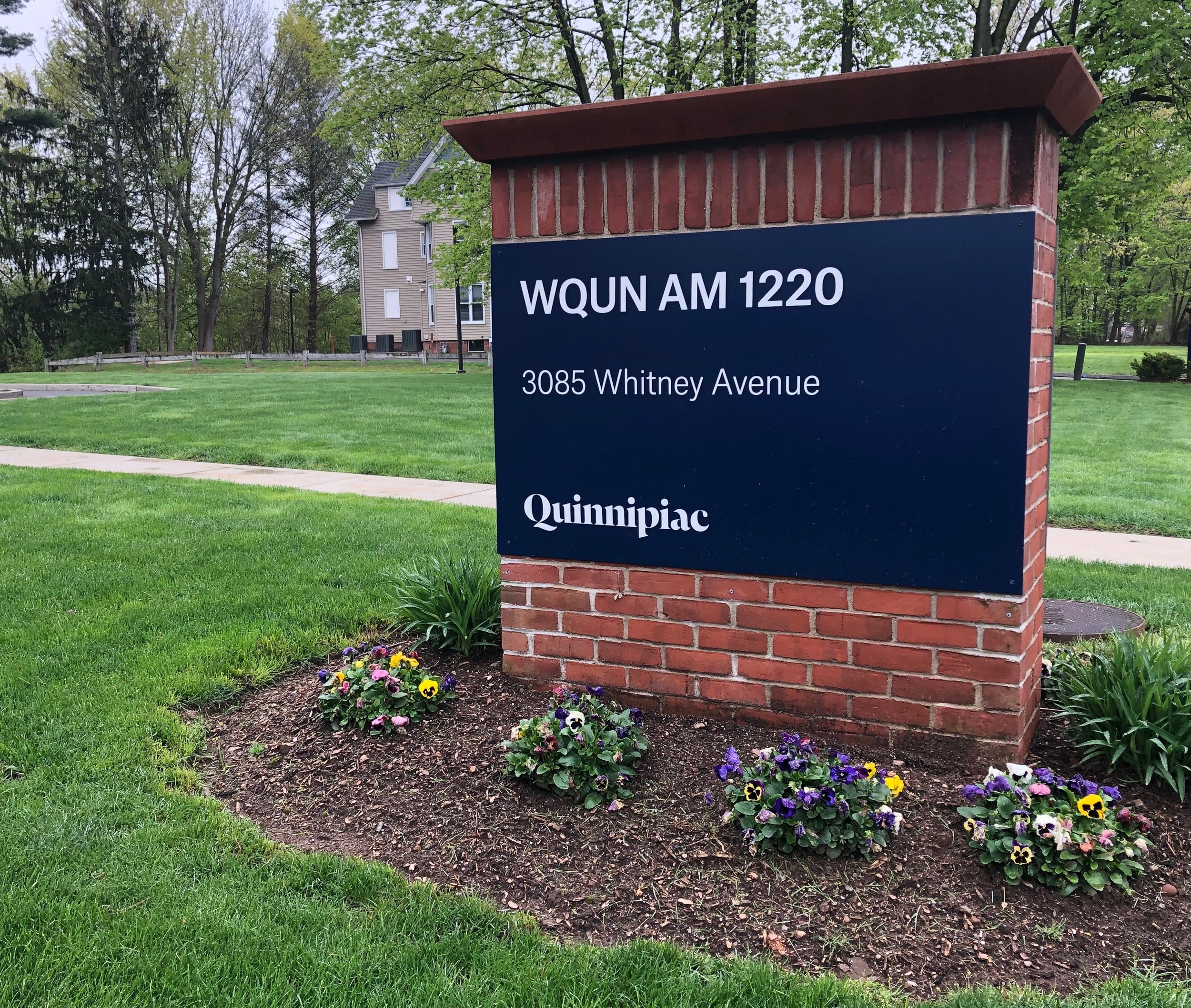 Outside the WQUN studios in Hamden, Connecticut.