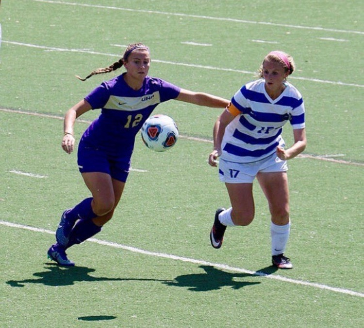 Maggie Pruitt playing college soccer at Shorter University. Pruitt's love for the game was the main reason for her job in college athletics today.