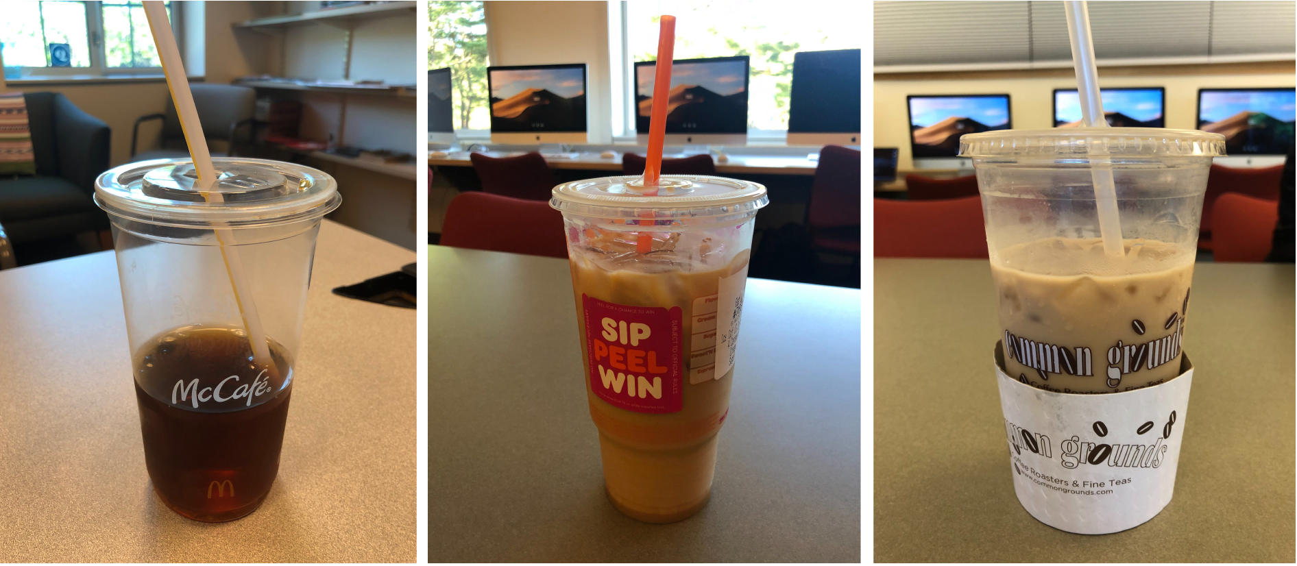 McDonalds and Dunkin Donuts gave customers plastic straws at the drive through window on Friday, Sept. 20, and Common Grounds left plastic straws near the milk station, in violation of a new ordinance. Stores must keep straws behind the counter and may give to customers only when they request them.