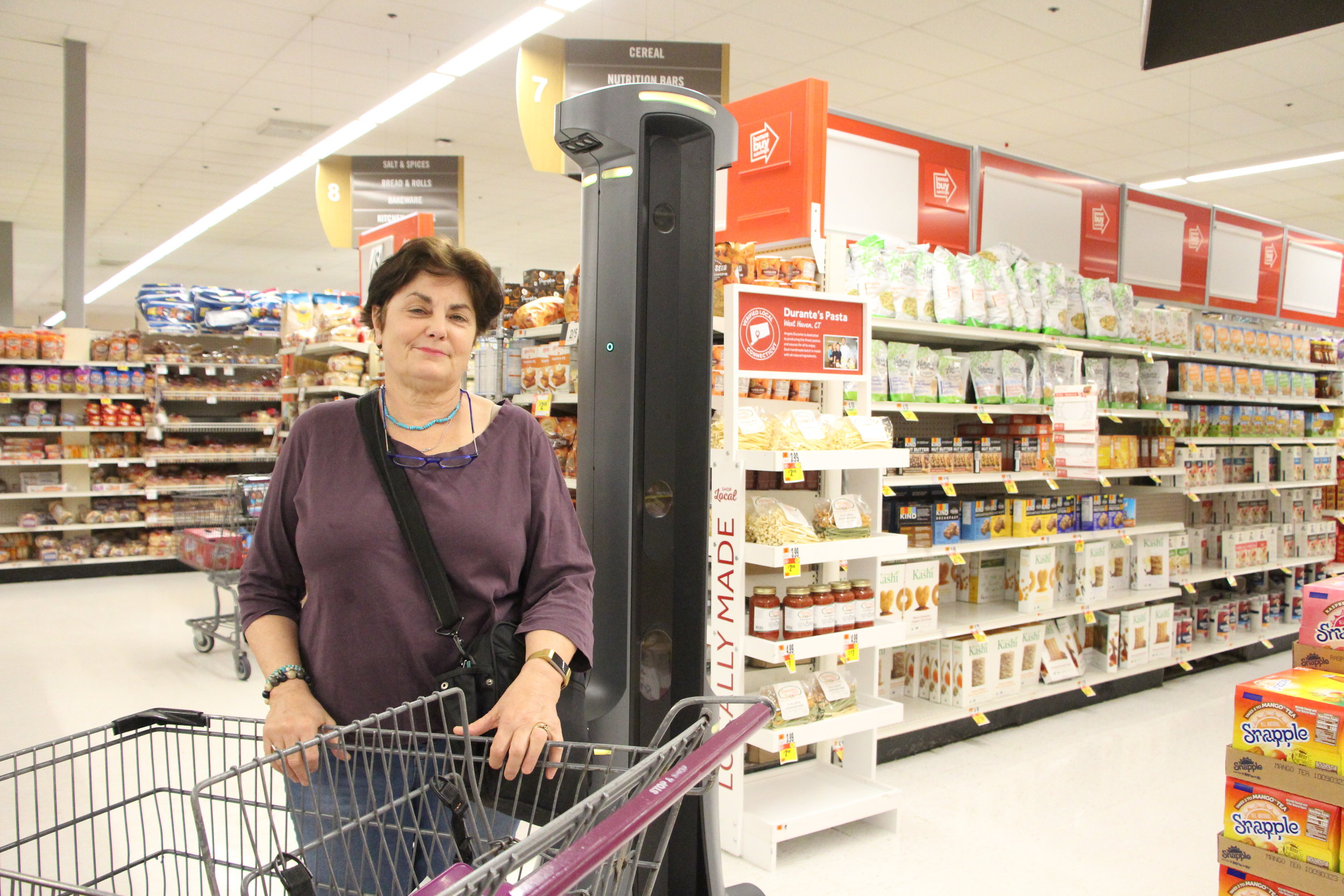 Stop & Shop customer, Karen Swanson, shopping alongside Marty.