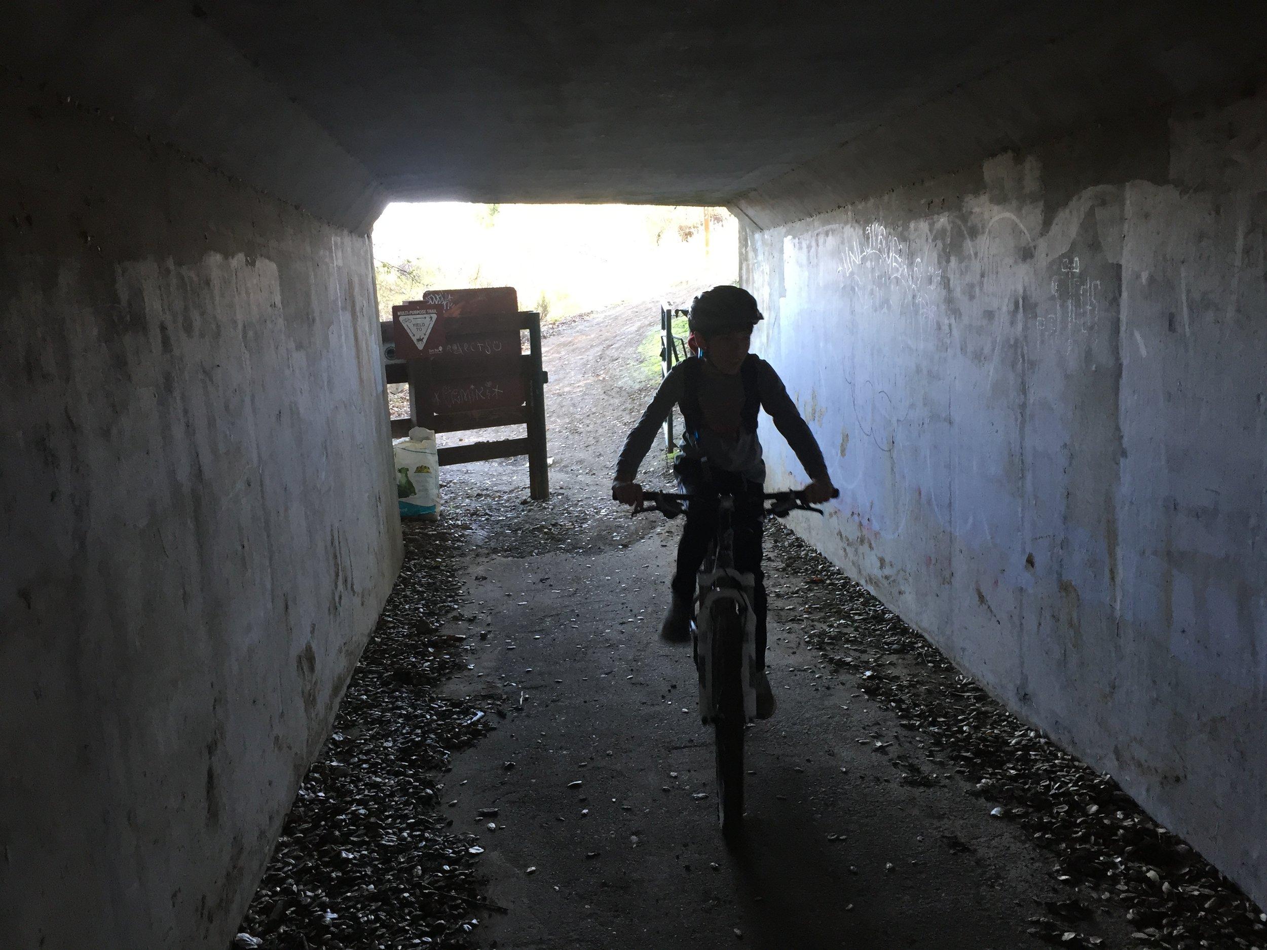 Lucas rides through the tunnel under Cummings Skyway.