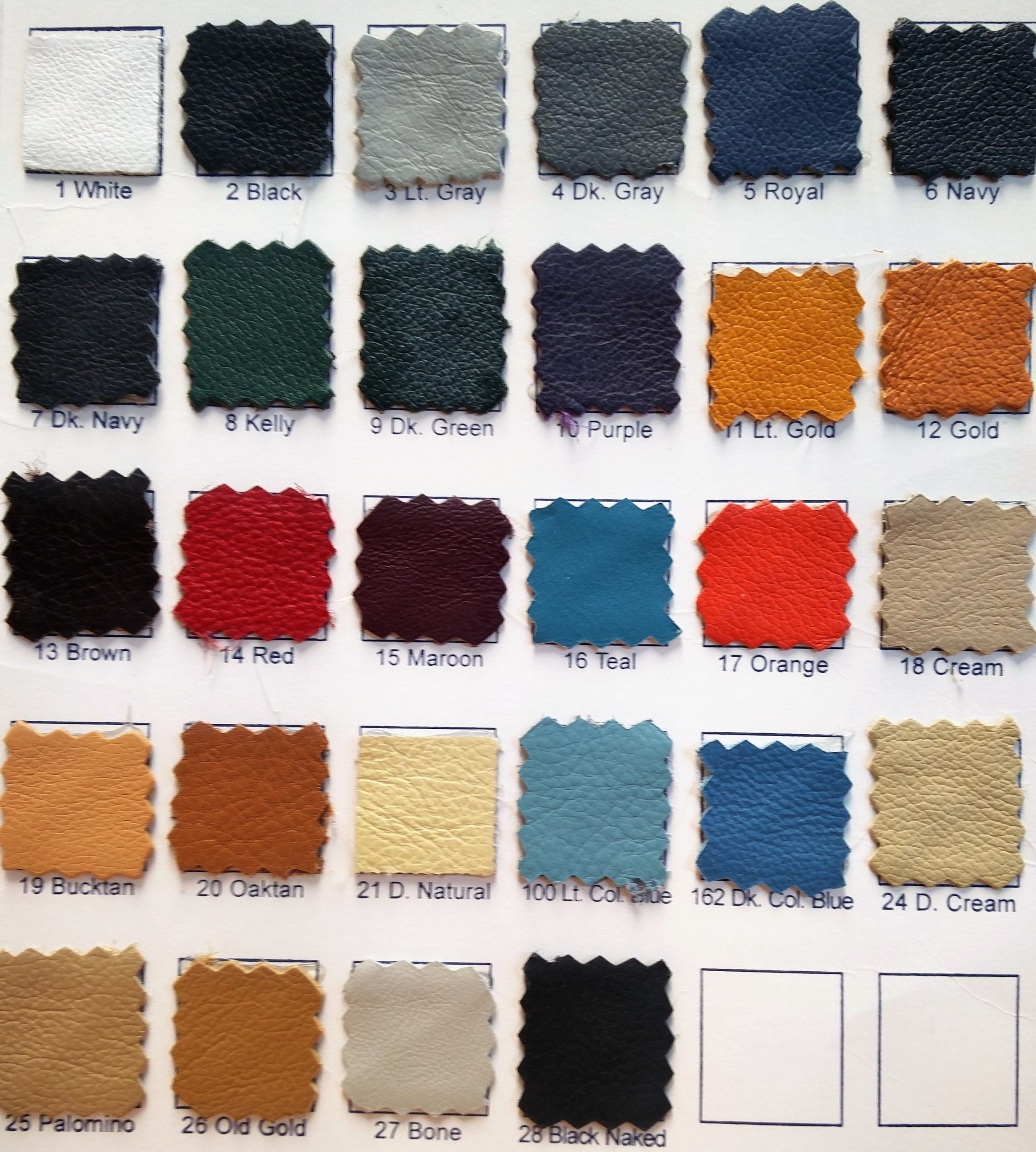 Leather Color Options - Genuine leather