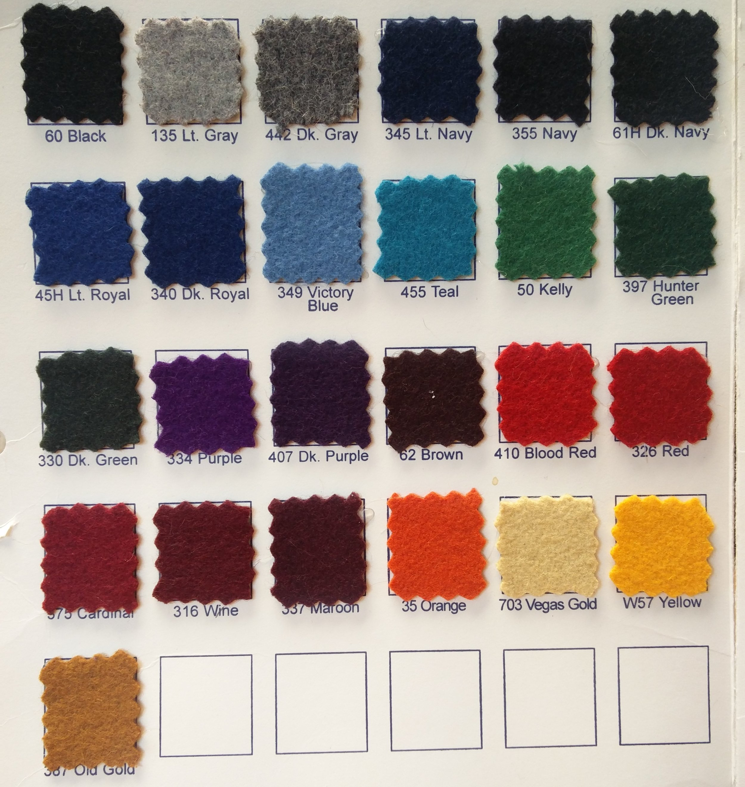 Wool Color Options - 24 oz. Melton Wool