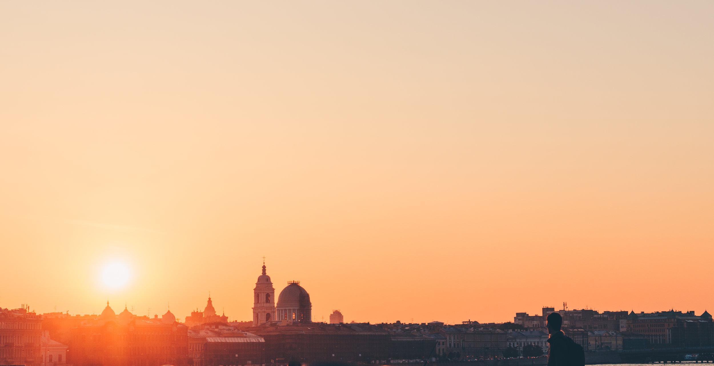 Beautiful sunset over Saint Petersburg
