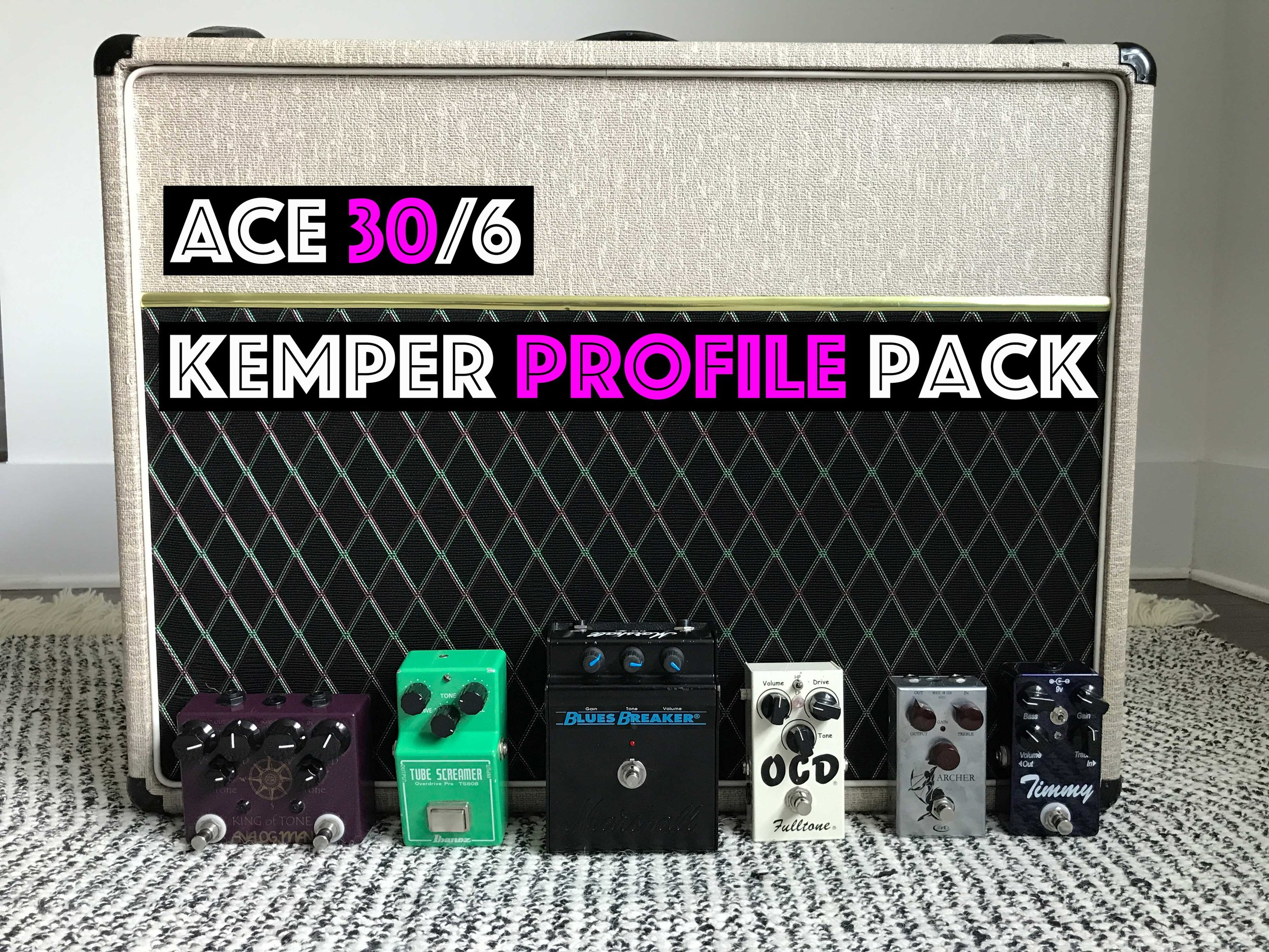 ACE 30/6 TB! - NOW ON SALE FOR 10$!!!!!!!! HW's Favorite Pack!!!The ACE 30/6 Pack from Tone Junkie feature 73 of the most amp like profiles ever captured for the Kemper. We've profiled this 6 input UK made VOX on the Normal Channel, Brilliant Channel and both channels combined first with Greenbacks then with Blues. From clean to scream and everything in between, on it's own and pushed by some of our favorite drive pedals. If a vox can make the sound, we have it in this pack!