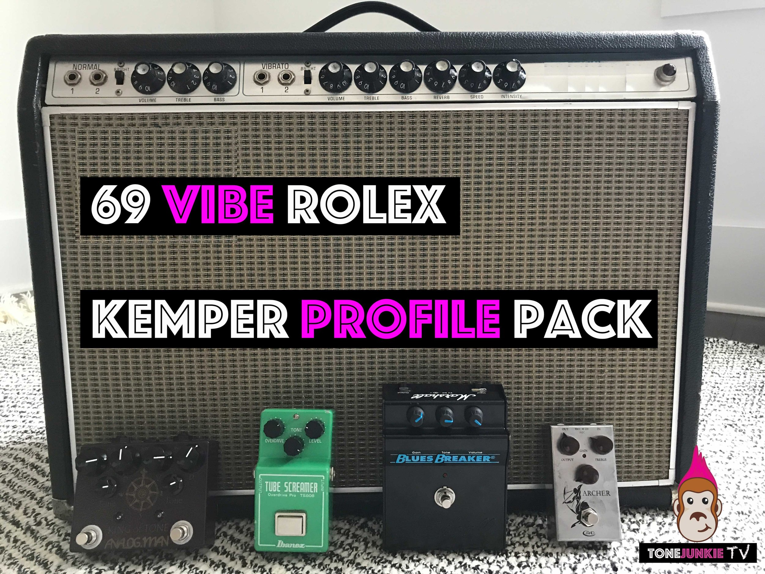 69 Vibe Rolex - NOW ON SALE FOR $10!!!The 69 Vibe Rolex Pack from Tone Junkie seeks to capture the sound of an all original 69 F***** V**rolux amp. With all original tunes, pots and speakers this 2x10 vintage amplifier has that classic american clean sound but with a deep yet tight bass response and smoother highs than many of its 1x12 and 2x12 cousins. Producers now how wonderfully these record and how well they pair in a mix with similar amps using 12 inch speakers.