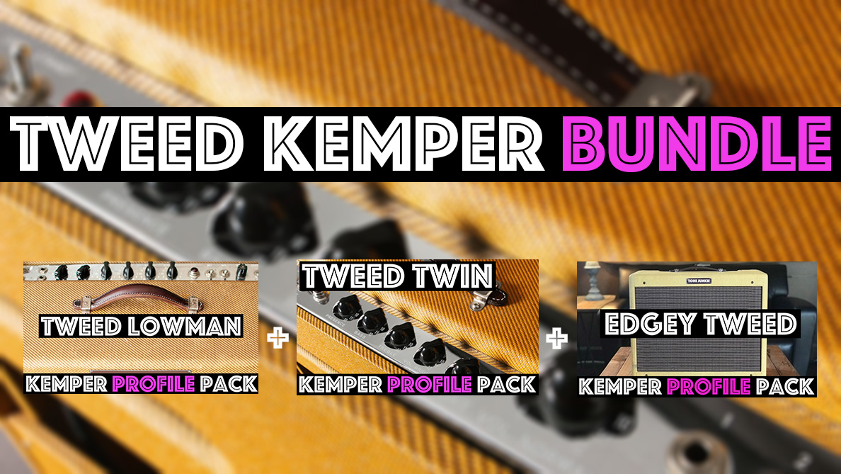 Tweed Tone! - The Tweed Kemper Bundle contains the Tweed Lowman, Tweed Twin and the Edgey Tweed (5e3) Kemper Profiles Packs. If you are a fan of tweed amp circuits and that classic low midrange that tweed are known for this bundle will give you all sorts of tweed amp flavors!