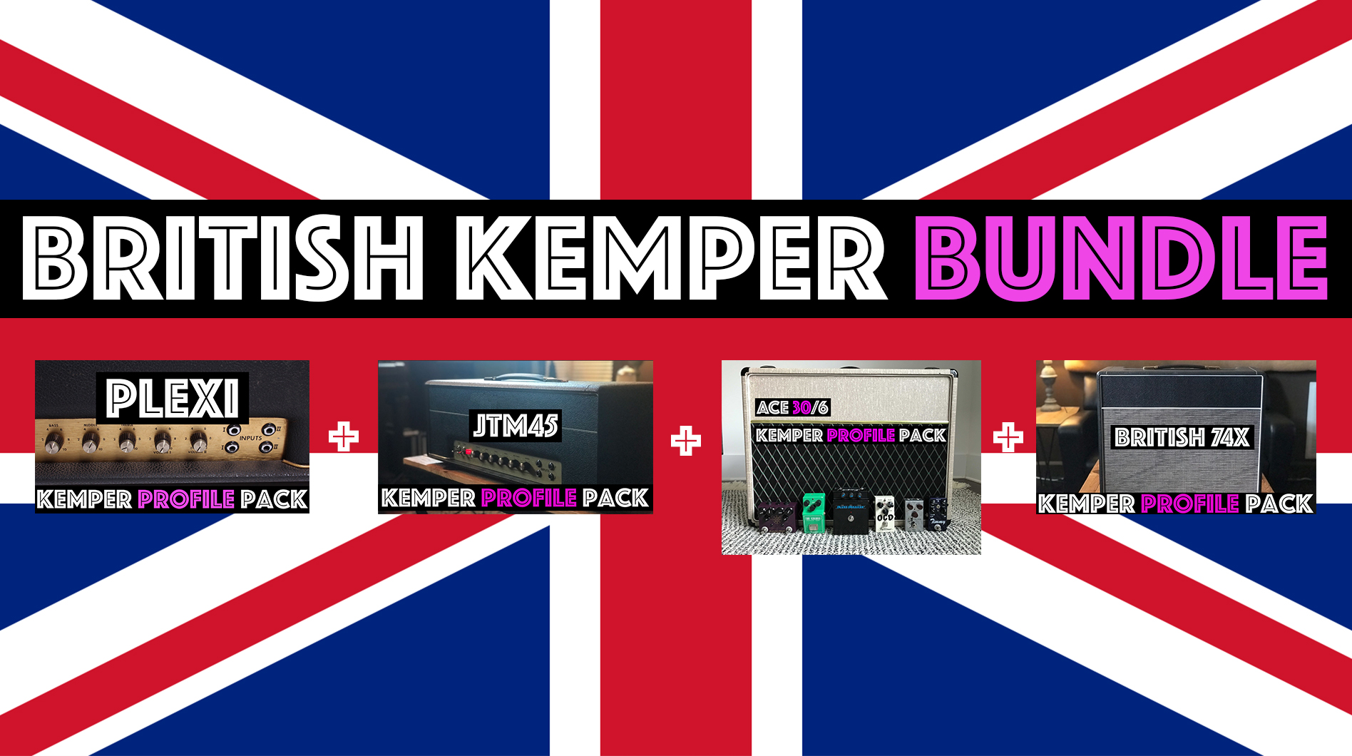 For the Queen! - The British Kemper Bundle combines the Plexi Kemper Profile Pack, the JTM45 Kemper Profile Pack, the Ace30/6 Kemper Pack and the British 1974X Kemper Profile Pack! British Chime to British chime, from the Beatles to the Rolling Stones. If its a British Tone its probably in the British Kemper Bundle.