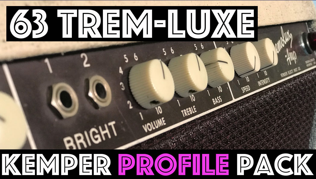 63 Trem-Luxe!! - The 63 Trem-Luxe Kemper Pack seeks to captures the sound of an all original 1963 Fender Tremolux Amp. This is a classic representation of the BrownFace sound, the half way point between Tweed and Blackface Fenders! Imagine creating an amp that has the beautiful cleans of a fender blackface with extended high end and a healthy bass but with the push of some lower midrange and grunt like a tweed amp.