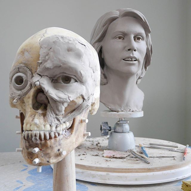 An old sculpture in the background, and an even older one I found in a box that was all dried out.  But, it's sort of like a before and after for facial approximation! . . . . . . . #skull #skulls #humanskull #forensics #forensicart #forensicartist #forensicscience #skullartist #iloveskulls #womeninstem #womeninscience #artcareer #morbidart #truecrime #forensicfriday #facialapproximation #cooljob