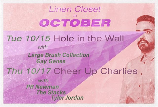 Panoply of posters, pt 1: Dragged this old design up to share both shows we're doing next week. Tue 10/15 at @hitwatx with @largebrushcollection and Gay Genes, and Thu 10/17 at @cheerupcharlies with @prnewmantx @thestacks and @tylerjordanandthenegativespace. We'll be rocking a trio setup for both shows, but changing up dynamics for each. Come out and see the fun! . (Initial 📸 by @dorothy.megan )