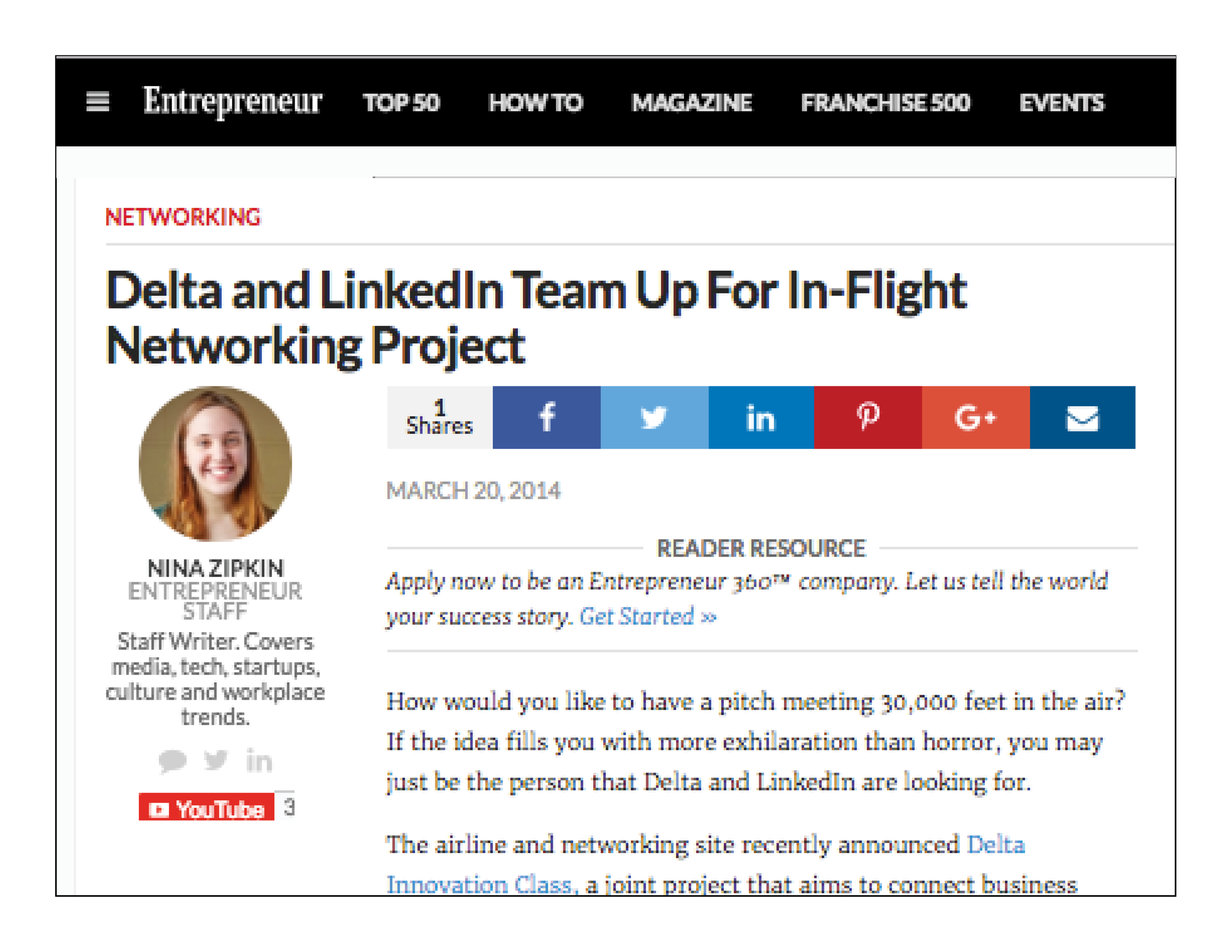 """""""Delta Innovation Class (2014) by Delta , a joint project that aims to connect business leaders and 'up-and-coming professionals' on flights to industry events."""