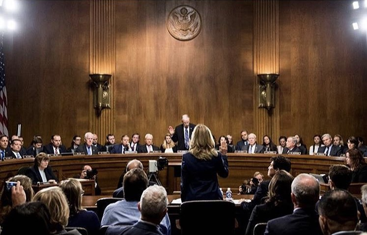Dr Christine Blasey Ford is sworn in at the hearing where the Senate Judiciary Committee questioned her about sexual assault perpetrated by Supreme Court nominee Brett Kavanaugh . | 📷 Instagram @barrjessie