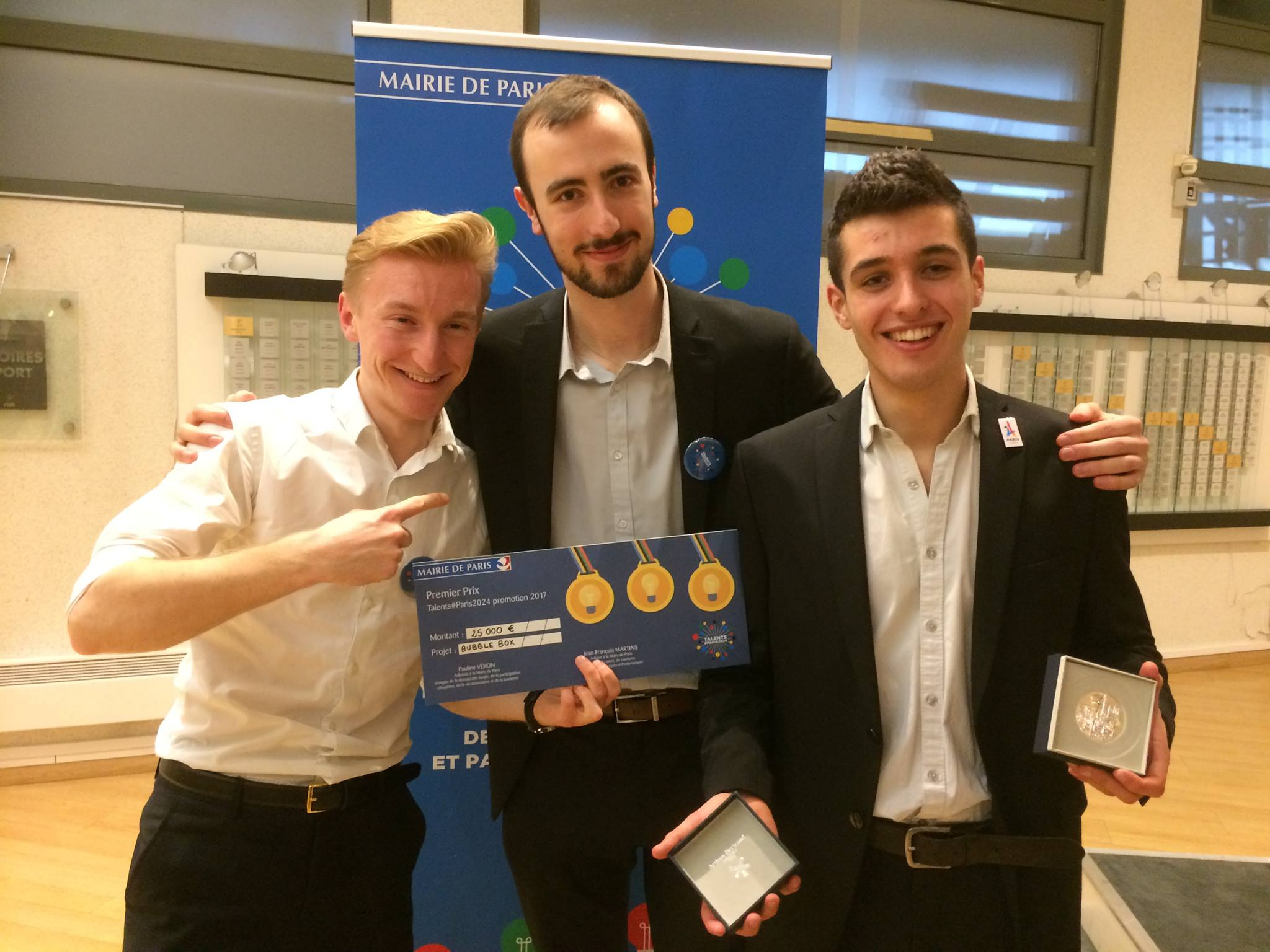 Louis Marty (MapX), Pierre Noro (BubbleBox) and Pietro Desideri (Allume Paris) at the awards ceremony for the Paris Talents 2024 Competition on January 10th, 2018.