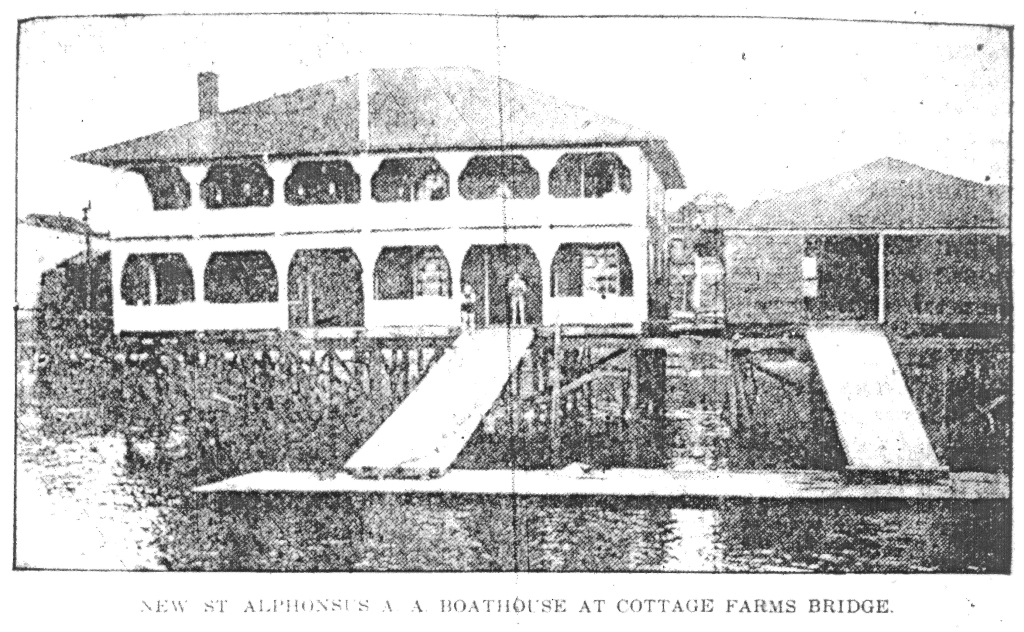 St. Alphonsus' Boathouse in May 1909