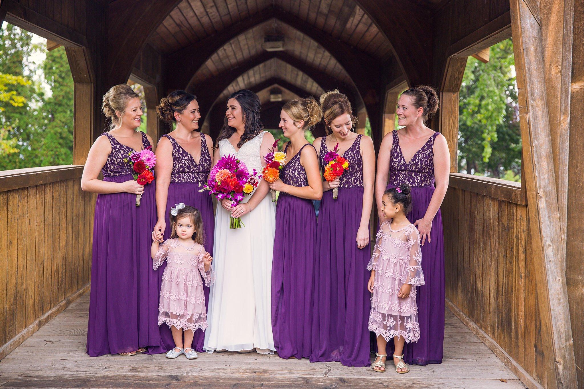 Bridesmaids Lakeside park Fond du Lac Wisconsin wedding photographer