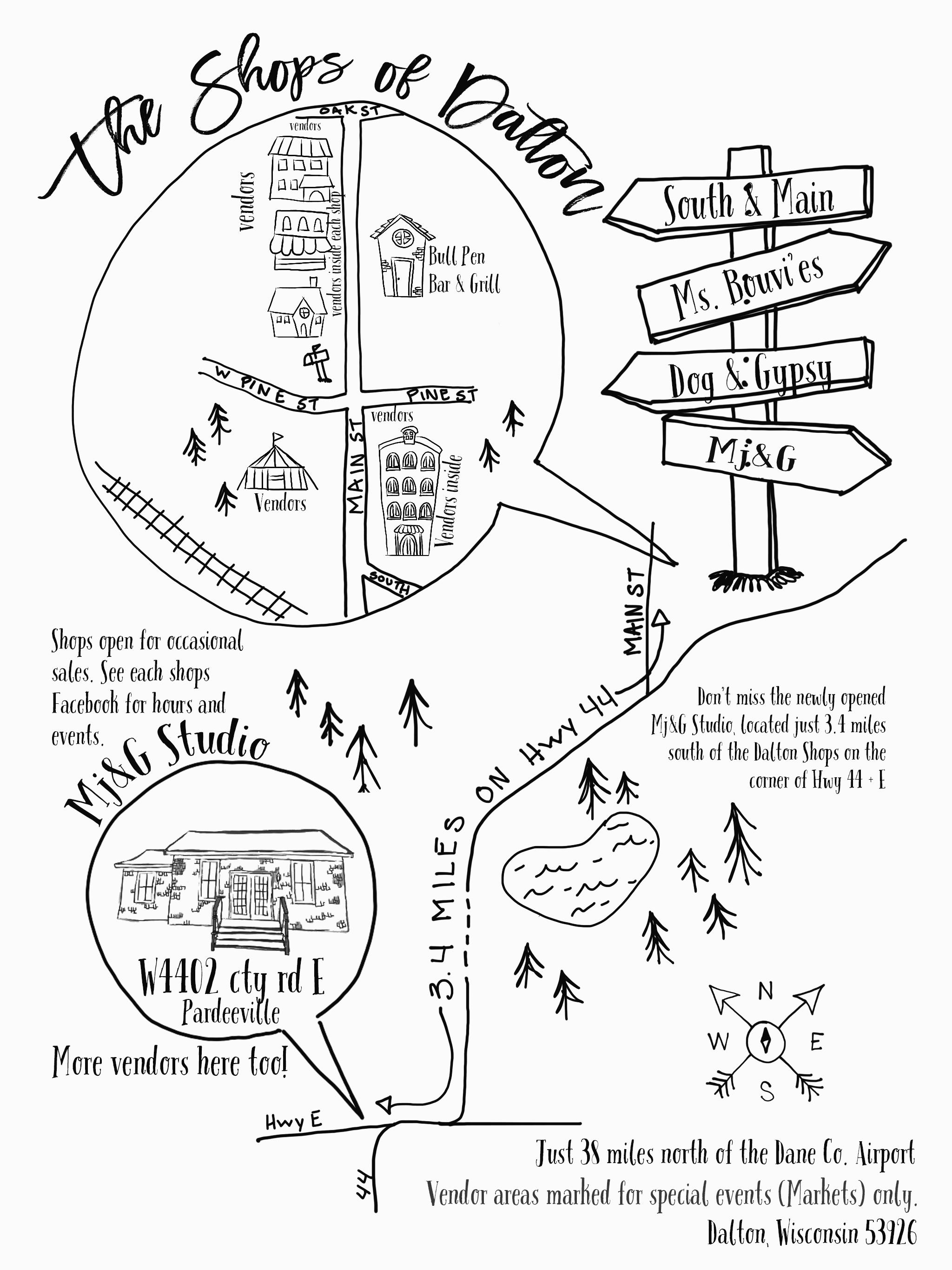 shop map Pardeeville and Dalton Wisconsin Vintage Market