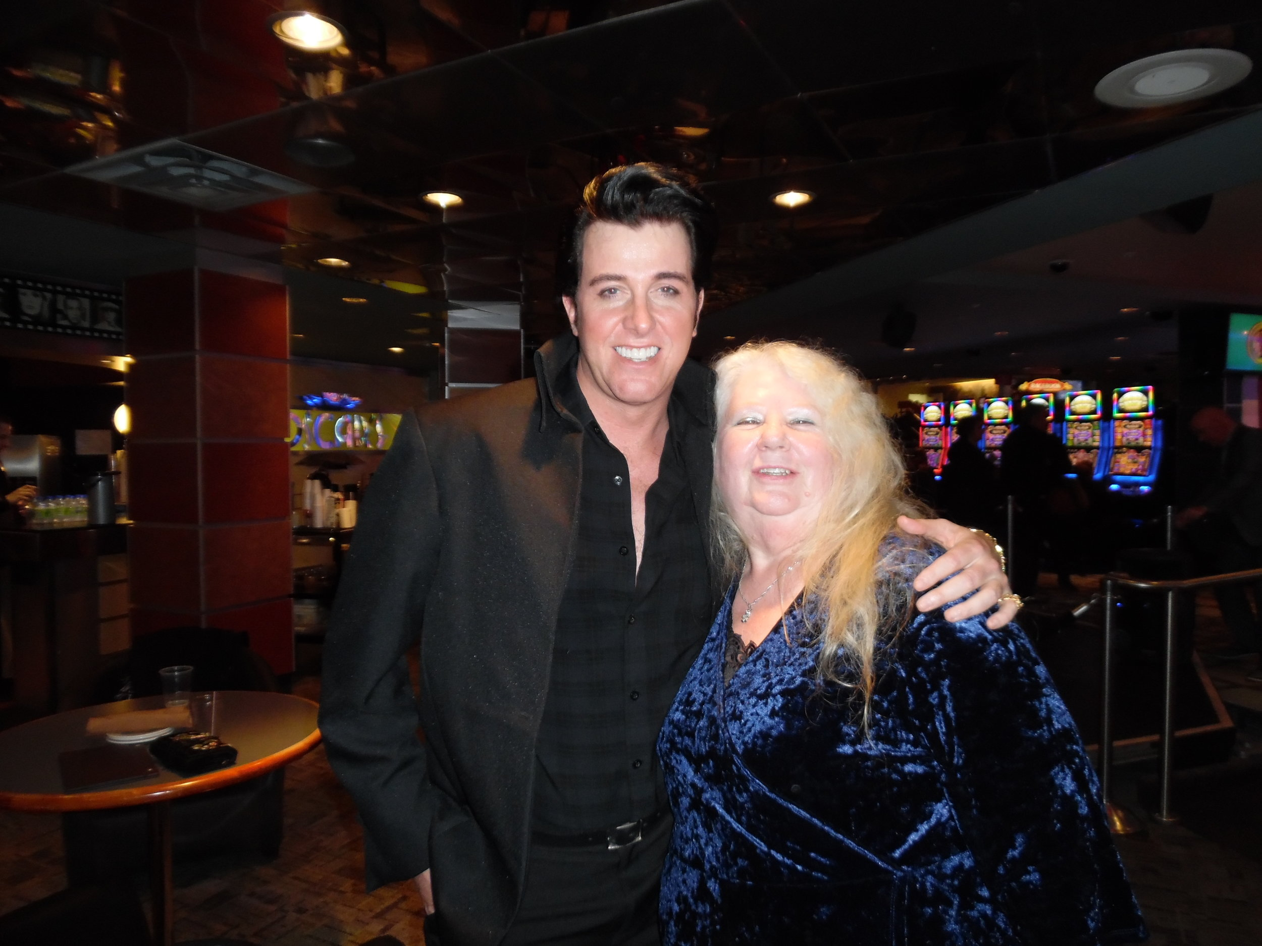 ETA  Matt Cage  and fan, Dot Farr, pose for a photo after Matt's fantastic concert at Mohawk Raceway on November 17th, 2017.