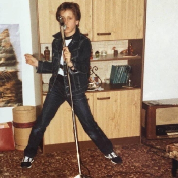 A young Tommy Meyenberg performing as Elvis.  Photo provided by T. Meyenberg.