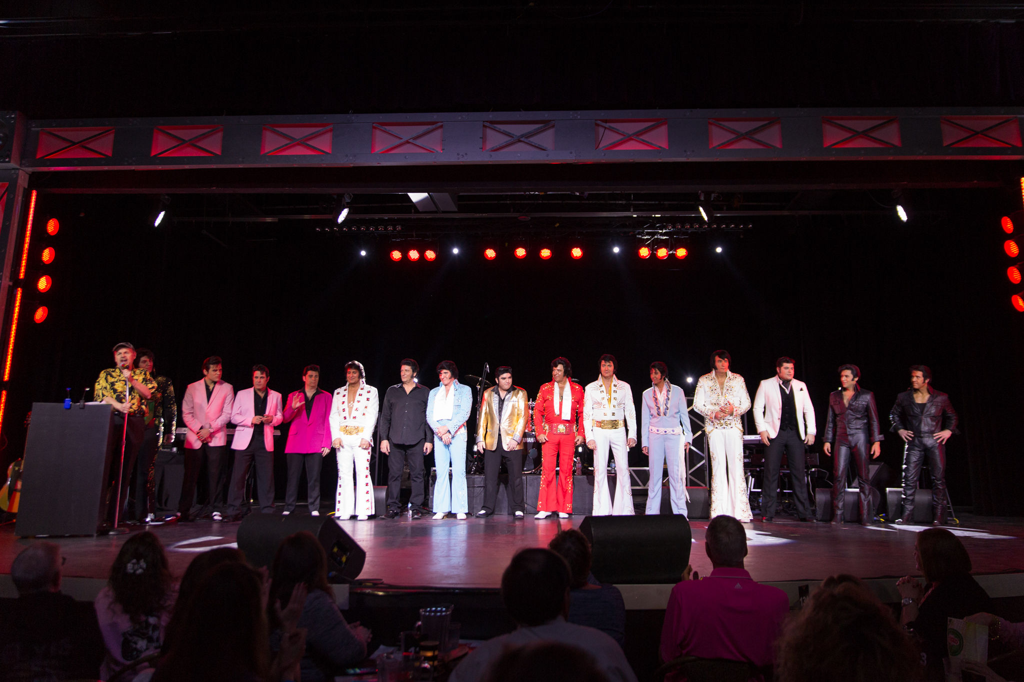 The Niagara Falls Elvis Festival attracts ETA competitors and performers from around the world. Pictured, are the 15 competitors from the 2018 NFEF competition.  Photo Credit: Lori-Anne Crewe, LA Crewe Photography.