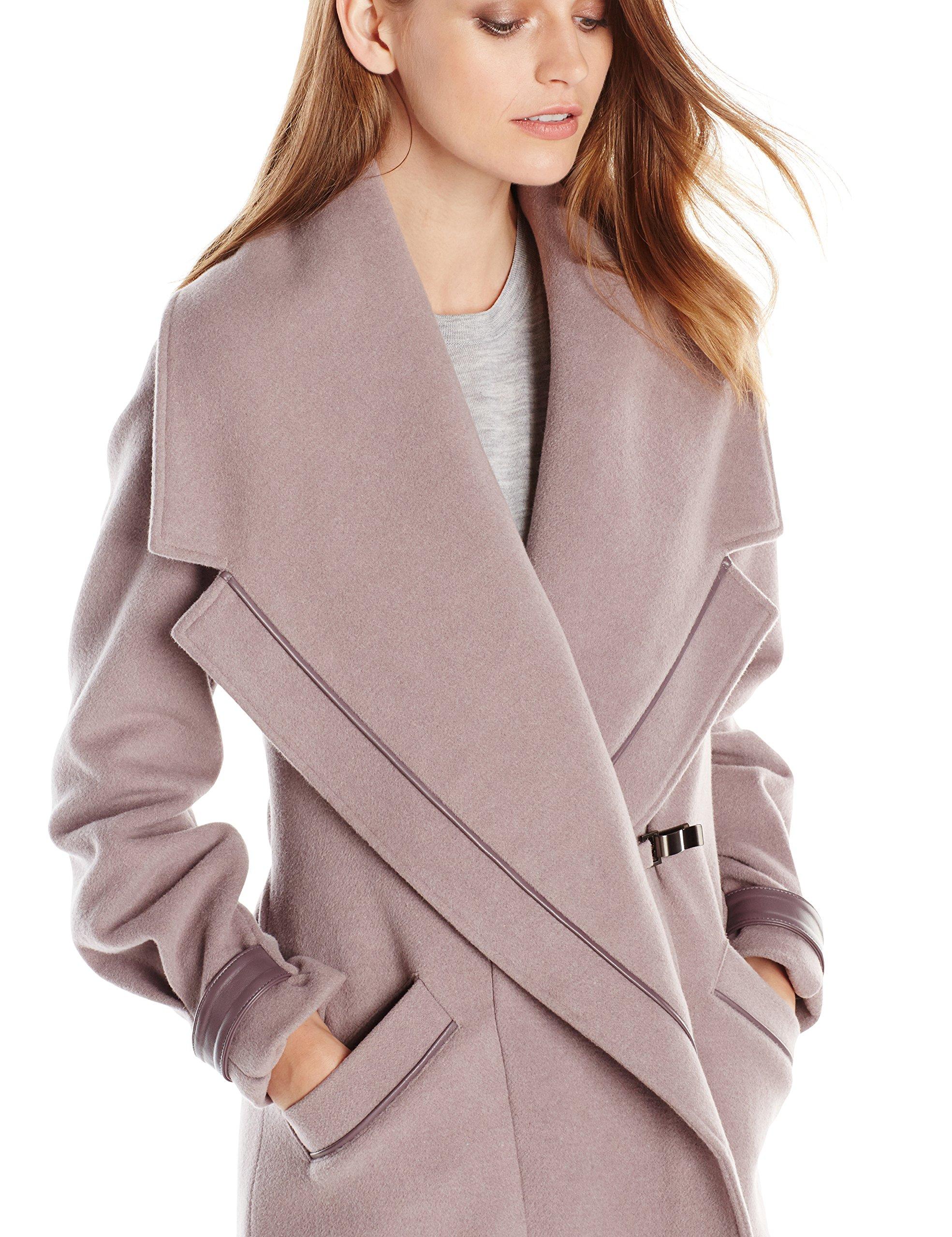 Badgley Mischka Women's Manila Wool-Blend Coat with Leather Trim