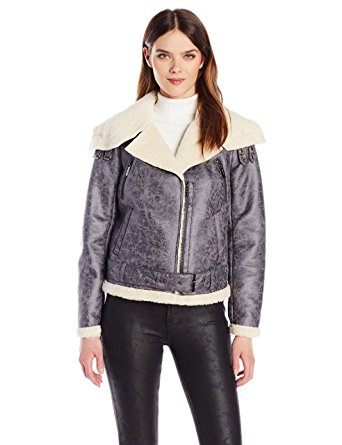 Kenneth Cole New York Women's Faux Shearling Jacket with Asymmetrical Zipfront.jpg