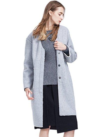 ME&CITY Women's Single Breasted Fleece Loose Fit Woolen Coat