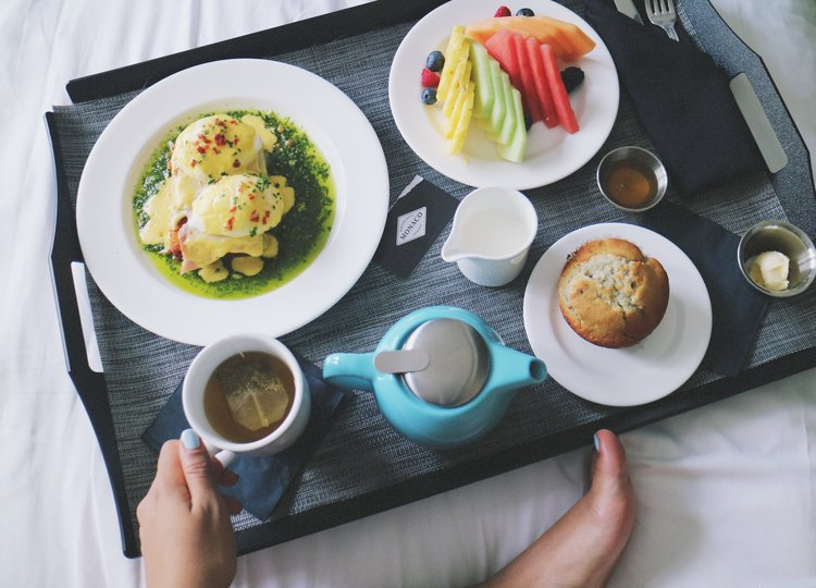 Breakfast in bed in the Kimpton Monaco Hotel